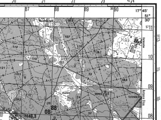 Reduced fragment of topographic map ru--gs--050k--m33-024-3--N051-30_E017-30--N051-20_E017-45; towns and cities Miedzyborz