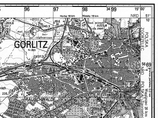 Reduced fragment of topographic map ru--gs--050k--m33-030-4--N051-10_E014-45--N051-00_E015-00; towns and cities Gorlitz