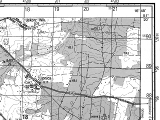 Reduced fragment of topographic map ru--gs--050k--m33-034-1--N051-20_E016-30--N051-10_E016-45; towns and cities Brzeg Dolny, Malczyce
