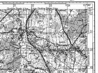 Reduced fragment of topographic map ru--gs--050k--m33-043-2--N051-00_E015-15--N050-50_E015-30; towns and cities Swieradow-zdroj
