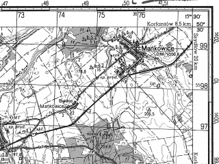 Reduced fragment of topographic map ru--gs--050k--m33-059-4--N050-30_E017-15--N050-20_E017-30; towns and cities Nysa