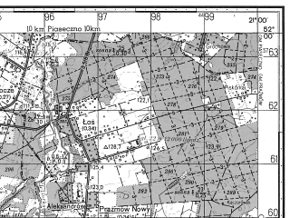 Reduced fragment of topographic map ru--gs--050k--m34-006-2--N052-00_E020-45--N051-50_E021-00; towns and cities Grojec