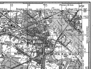 Reduced fragment of topographic map ru--gs--050k--m34-007-1--N052-00_E021-00--N051-50_E021-15; towns and cities Gora Kalwaria