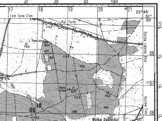 Reduced fragment of topographic map ru--gs--050k--m34-022-3--N051-30_E022-30--N051-20_E022-45; towns and cities Lubartow