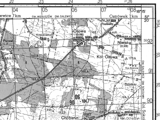 Reduced fragment of topographic map ru--gs--050k--m34-025-1--N051-20_E018-00--N051-10_E018-15; towns and cities Wieruszow