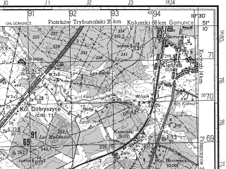 Reduced fragment of topographic map ru--gs--050k--m34-027-4--N051-10_E019-15--N051-00_E019-30; towns and cities Radomsko