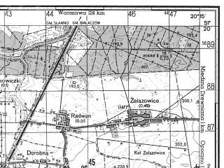 Reduced fragment of topographic map ru--gs--050k--m34-029-1--N051-20_E020-00--N051-10_E020-15; towns and cities Zarnow