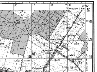 Reduced fragment of topographic map ru--gs--050k--m34-030-4--N051-10_E020-45--N051-00_E021-00; towns and cities Skarzysko-kamienna
