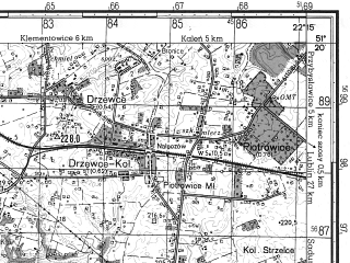 Reduced fragment of topographic map ru--gs--050k--m34-033-1--N051-20_E022-00--N051-10_E022-15; towns and cities Poniatowa, Naleczow