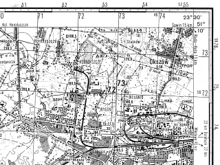 Reduced fragment of topographic map ru--gs--050k--m34-035-4--N051-10_E023-15--N051-00_E023-30; towns and cities Chelm