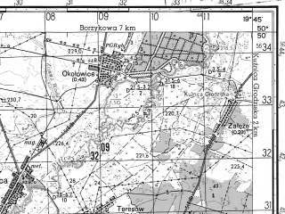 Reduced fragment of topographic map ru--gs--050k--m34-040-3--N050-50_E019-30--N050-40_E019-45; towns and cities Koniecpol