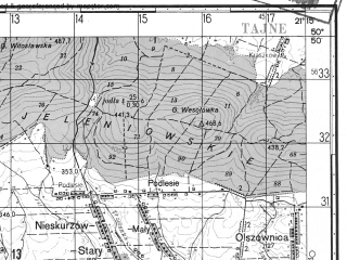 Reduced fragment of topographic map ru--gs--050k--m34-043-3--N050-50_E021-00--N050-40_E021-15; towns and cities Lagow
