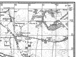 Reduced fragment of topographic map ru--gs--050k--m34-044-3--N050-50_E021-30--N050-40_E021-45; towns and cities Sandomierz