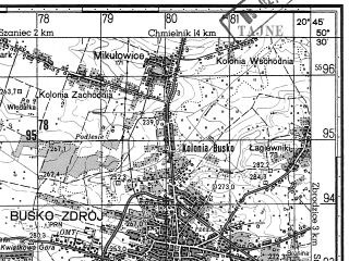 Reduced fragment of topographic map ru--gs--050k--m34-054-3--N050-30_E020-30--N050-20_E020-45; towns and cities Busko-zdroj