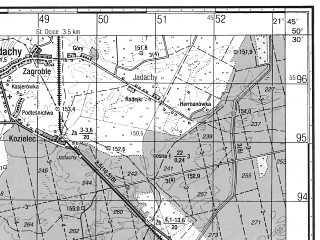Reduced fragment of topographic map ru--gs--050k--m34-056-3--N050-30_E021-30--N050-20_E021-45; towns and cities Nowa Deba