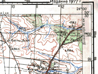 Reduced fragment of topographic map ru--gs--050k--m34-060-4--(1977)--N050-30_E023-45--N050-20_E024-00; towns and cities Domashev, Karov, Ugnev