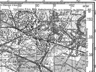 Reduced fragment of topographic map ru--gs--050k--m34-063-4--N050-10_E019-15--N050-00_E019-30; towns and cities Trzebinia