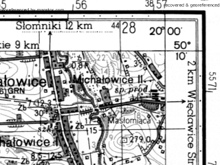 Reduced fragment of topographic map ru--gs--050k--m34-064-4--N050-10_E019-45--N050-00_E020-00; towns and cities Krakow