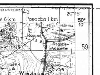 Reduced fragment of topographic map ru--gs--050k--m34-065-3--N050-10_E020-00--N050-00_E020-15; towns and cities Nowa Huta, Kocmyrzow