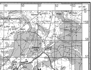Reduced fragment of topographic map ru--gs--050k--m34-068-3--N050-10_E021-30--N050-00_E021-45; towns and cities Ropczyce