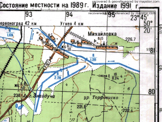 Reduced fragment of topographic map ru--gs--050k--m34-072-1--(1989)--N050-20_E023-30--N050-10_E023-45; towns and cities Rava-russkaya, Lipnik, Potelich, Rechki