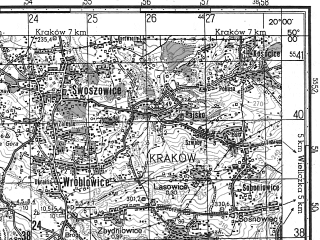 Reduced fragment of topographic map ru--gs--050k--m34-076-2--N050-00_E019-45--N049-50_E020-00; towns and cities Skawina