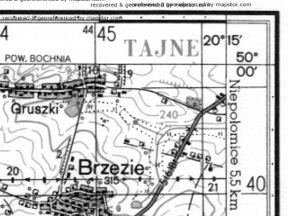 Reduced fragment of topographic map ru--gs--050k--m34-077-1--N050-00_E020-00--N049-50_E020-15; towns and cities Wieliczka