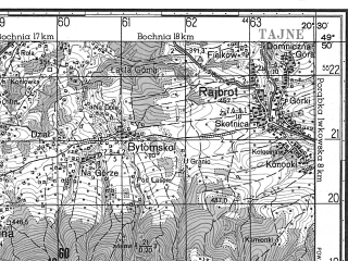 Reduced fragment of topographic map ru--gs--050k--m34-077-4--N049-50_E020-15--N049-40_E020-30; towns and cities Limanowa