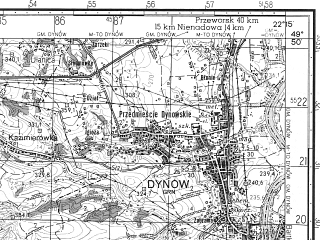 Reduced fragment of topographic map ru--gs--050k--m34-081-3--N049-50_E022-00--N049-40_E022-15; towns and cities Brzozow, Dynow