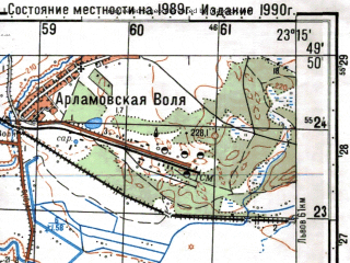 Reduced fragment of topographic map ru--gs--050k--m34-083-3--N049-50_E023-00--N049-40_E023-15; towns and cities Mostiska, Pnikut, Radenichi, Zavyazantsy