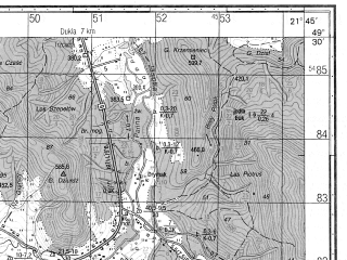 Reduced fragment of topographic map ru--gs--050k--m34-092-3--N049-30_E021-30--N049-20_E021-45; towns and cities Barwinek