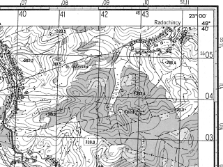 Reduced fragment of topographic map ru--gs--050k--m34-094-2--N049-40_E022-45--N049-30_E023-00; towns and cities Dobromil', Khyrov, Skelovka, Staryava