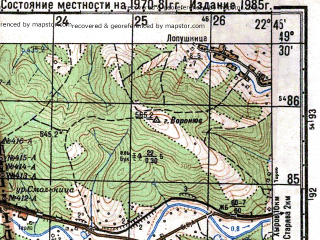 Reduced fragment of topographic map ru--gs--050k--m34-094-3--(1981)--N049-30_E022-30--N049-20_E022-45; towns and cities Ustrzyki Dolne
