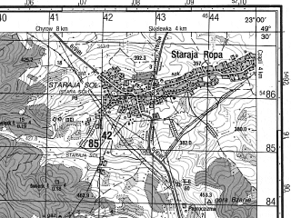 Reduced fragment of topographic map ru--gs--050k--m34-094-4--N049-30_E022-45--N049-20_E023-00; towns and cities Tershuvo, Velikaya Linina, Bilich