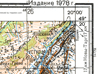 Reduced fragment of topographic map ru--gs--050k--m34-100-2--(1978)--N049-20_E019-45--N049-10_E020-00; towns and cities Zakopane