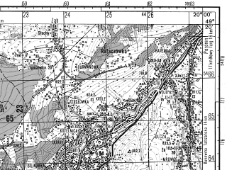 Reduced fragment of topographic map ru--gs--050k--m34-100-2--(1985)--N049-20_E019-45--N049-10_E020-00; towns and cities Zakopane