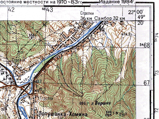 Reduced fragment of topographic map ru--gs--050k--m34-106-2--(1983)--N049-20_E022-45--N049-10_E023-00; towns and cities Boberka, Limna, Rozluch