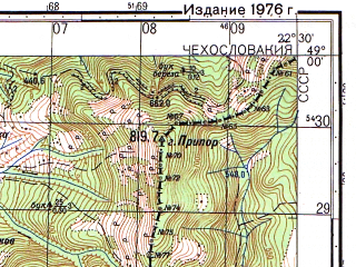 Reduced fragment of topographic map ru--gs--050k--m34-117-2--(1976)--N049-00_E022-15--N048-50_E022-30; towns and cities Malyy Bereznyy, Velikiy Bereznyy, Zabrod'