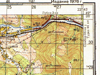 Reduced fragment of topographic map ru--gs--050k--m34-118-1--(1976)--N049-00_E022-30--N048-50_E022-45; towns and cities Chernogolova, Kostrina, Stavnoye