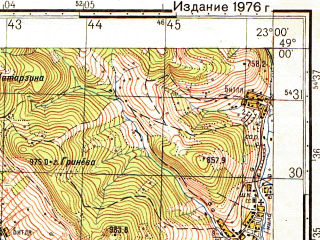 Reduced fragment of topographic map ru--gs--050k--m34-118-2--(1976)--N049-00_E022-45--N048-50_E023-00; towns and cities Uzhok, Volosyanka, Bitlya