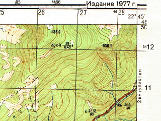 Reduced fragment of topographic map ru--gs--050k--m34-118-3--(1977)--N048-50_E022-30--N048-40_E022-45; towns and cities Poroshkovo, Simer, Tur'i Remety
