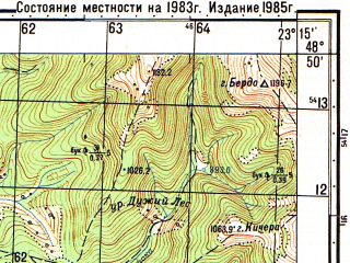 Reduced fragment of topographic map ru--gs--050k--m34-119-3--N048-50_E023-00--N048-40_E023-15; towns and cities Volovets, Verkhniye Vorota, Zhupany