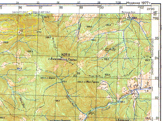 Reduced fragment of topographic map ru--gs--050k--m34-132-1--(1977)--N048-40_E023-30--N048-30_E023-45; towns and cities Sinevirskaya Polyana