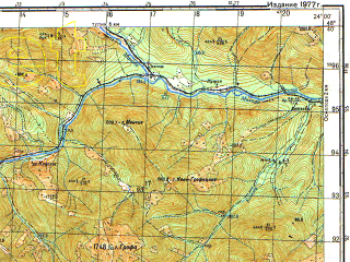 Reduced fragment of topographic map ru--gs--050k--m34-132-2--(1977)--N048-40_E023-45--N048-30_E024-00