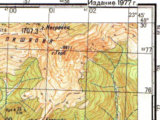 Reduced fragment of topographic map ru--gs--050k--m34-132-3--N048-30_E023-30--N048-20_E023-45; towns and cities Kolochava, Negrovets, Nizhniy Bystryy