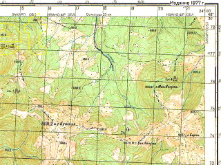 Reduced fragment of topographic map ru--gs--050k--m34-132-4--(1977)--N048-30_E023-45--N048-20_E024-00; towns and cities Lopukhov
