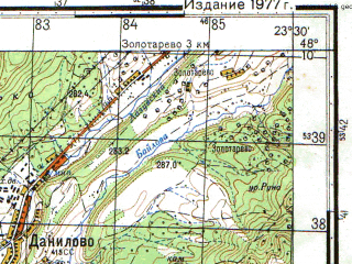 Reduced fragment of topographic map ru--gs--050k--m34-143-4--N048-10_E023-15--N048-00_E023-30; towns and cities Bushtyna, Vyshkovo, Danilovo, Sokirnitsa, Steblevka