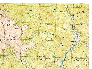 Reduced fragment of topographic map ru--gs--050k--m34-144-1--(1953)--N048-20_E023-30--N048-10_E023-45; towns and cities Chumalevo, Dragovo, Krichevo