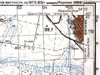 Reduced fragment of topographic map ru--gs--050k--m35-049-1--N050-40_E024-00--N050-30_E024-15; towns and cities Litovezh, Pravda