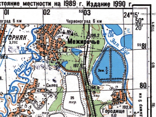 Reduced fragment of topographic map ru--gs--050k--m35-061-1--N050-20_E024-00--N050-10_E024-15; towns and cities Sosnovka, Gornyak, Dvortsy, Reklinets, Selets